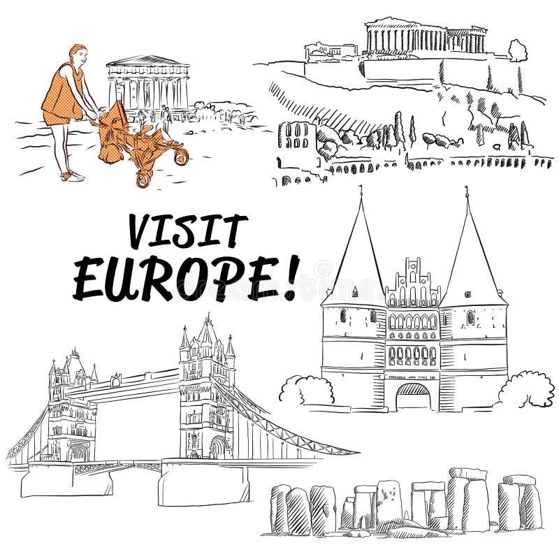 Bosquejos europeos famosos de los edificios de las vacaciones ilustración del vector