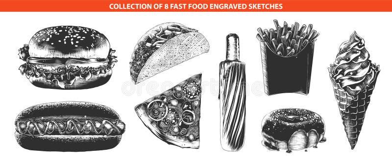 Bosquejos exhaustos de la mano de adentro monocromático aislado en el fondo blanco Dibujo detallado del estilo del grabar en made stock de ilustración