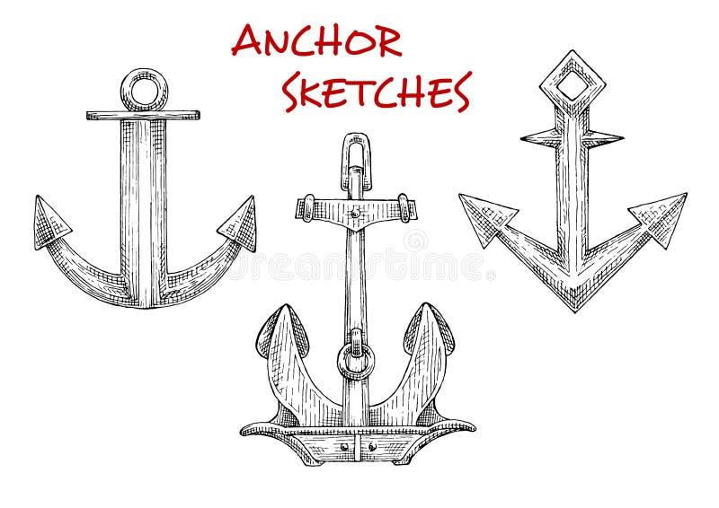 Bosquejos fijados de las anclas del barco del vintage stock de ilustración