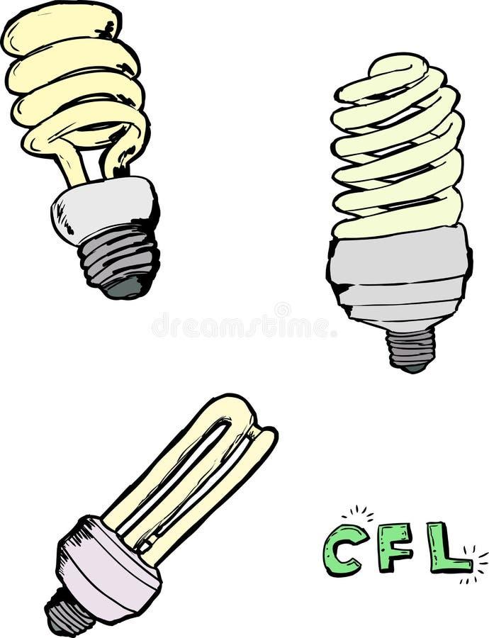 Bosquejos fluorescentes compactos de la bombilla stock de ilustración
