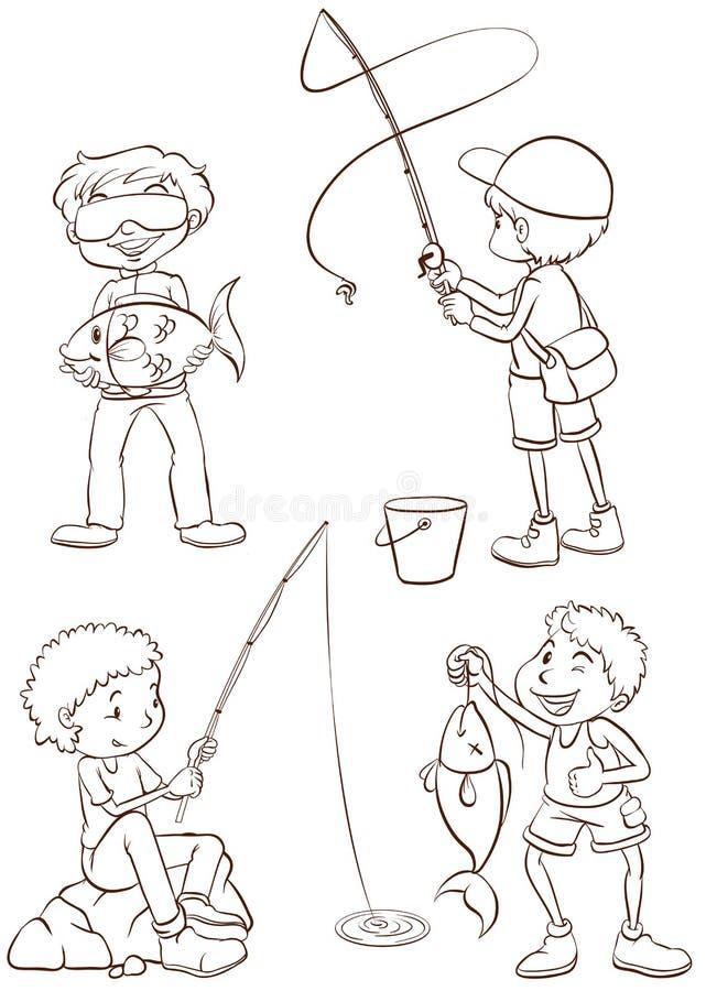 Bosquejos llanos de la pesca de los muchachos ilustración del vector