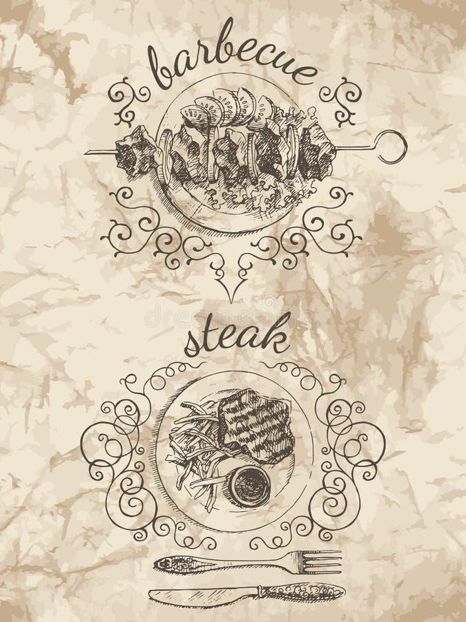 Bosquejos para el menú de la comida stock de ilustración