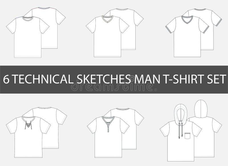 6 bosquejos técnicos de la moda de la camiseta del ` s de los hombres stock de ilustración