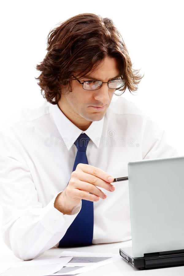 Boss. Photo of confident boss looking and showing at laptop stock photo
