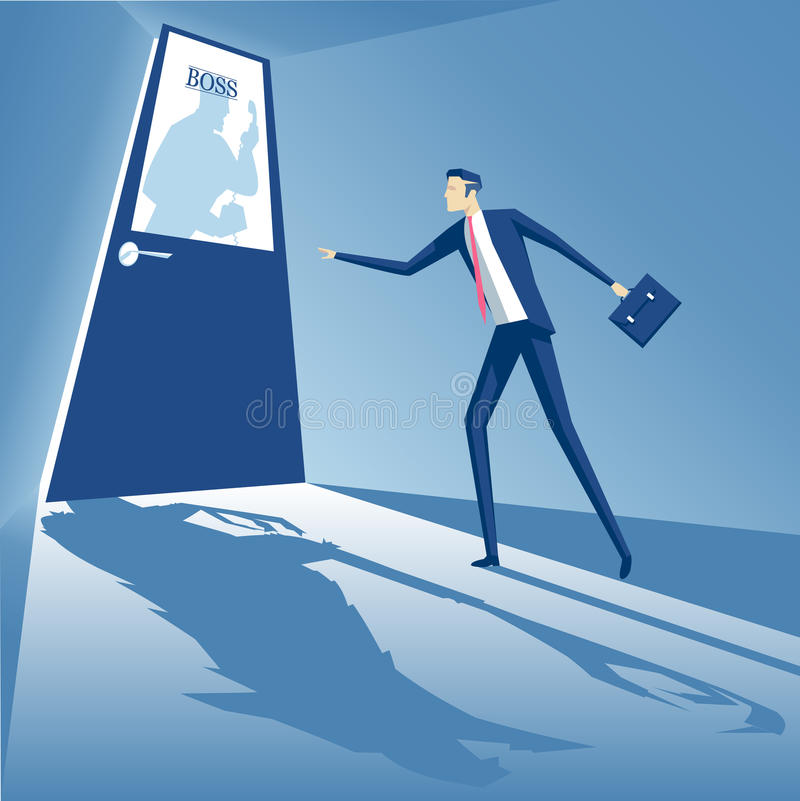 Boss in anger. Boss shouting into the phone and an employee is standing at the door, and afraid to go inside, business concept boss monster, business concept vector illustration