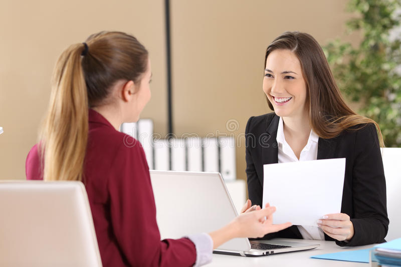 Boss attending in a job interview royalty free stock photography