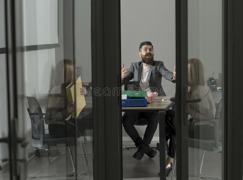 Boss blaming employee for bad results, conflict.  stock photos