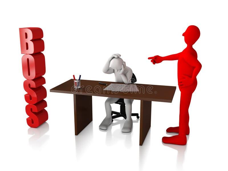 Boss Blank human character - Blank human character representing the bossy attitude of a boss - 3D illustration stock illustration