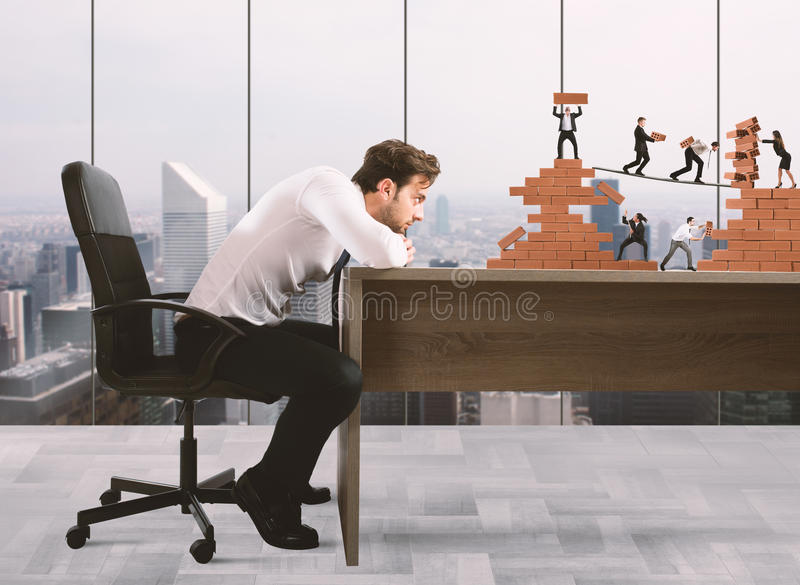 Boss builds a business team stock images