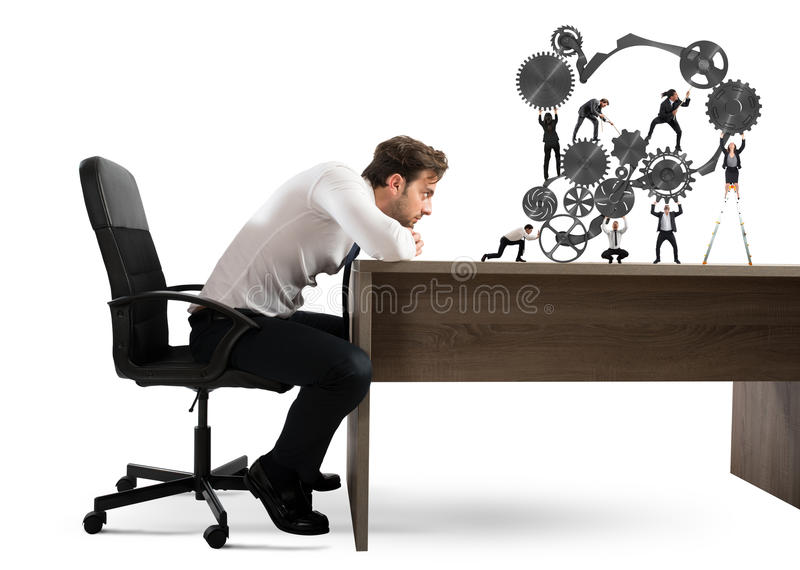 Boss builds a business team royalty free stock image