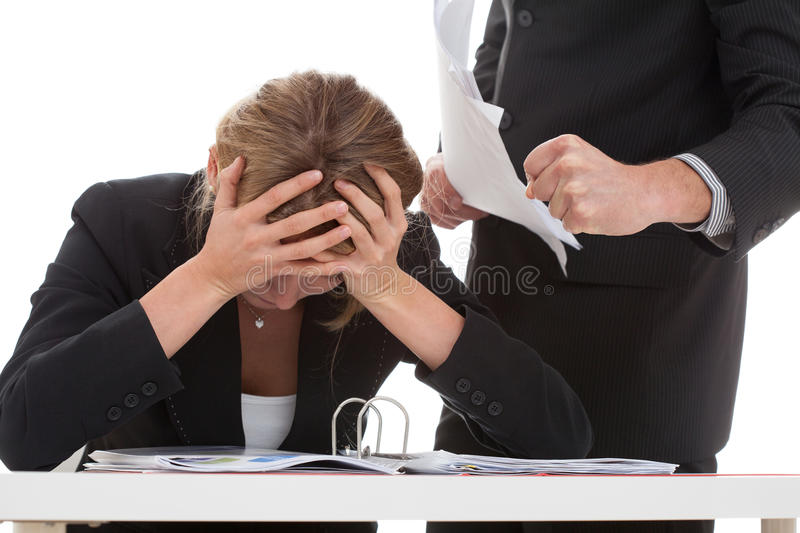 Boss bullying his employee. Cruel boss bullying hard working for him woman stock photo