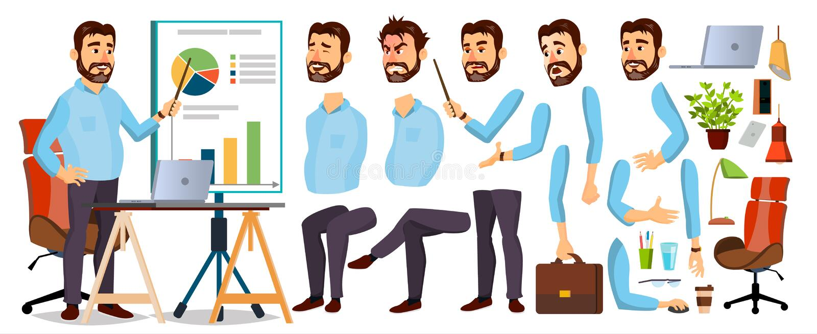 Boss Business Man Character Vector. Working Bearded CEO Male. Start Up. Modern Office Workplace. Chief Executive Officer royalty free illustration