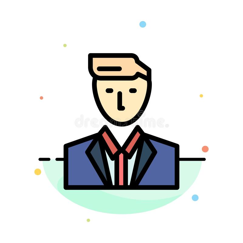 Boss, Ceo, Head, Leader, Mr Abstract Flat Color Icon Template vector illustration