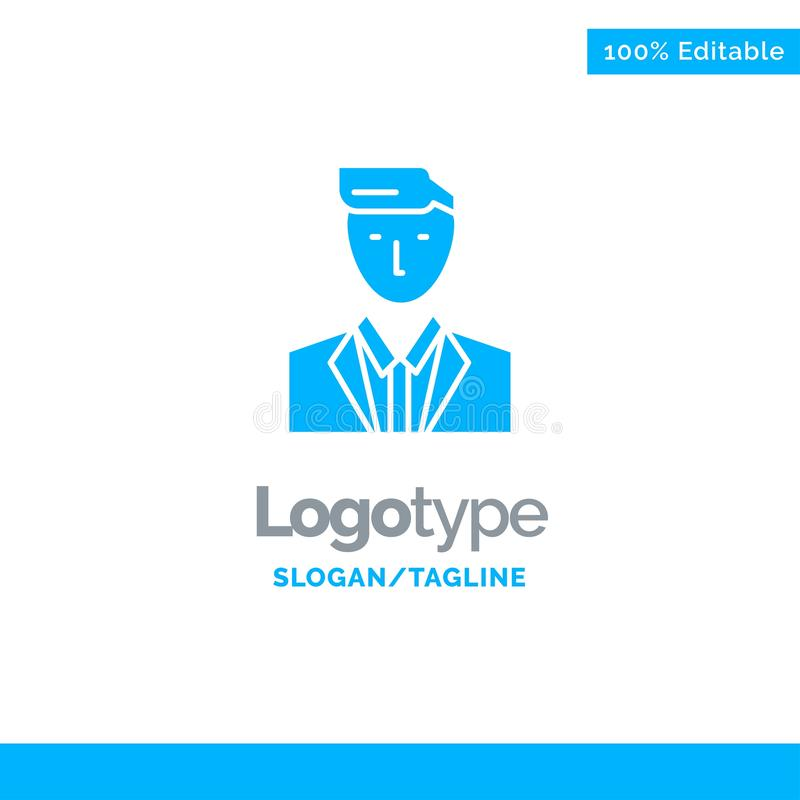 Boss, Ceo, Head, Leader, Mr Blue Solid Logo Template. Place for Tagline vector illustration