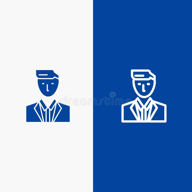 Boss, Ceo, Head, Leader, Mr Line and Glyph Solid icon Blue banner Line and Glyph Solid icon Blue banner vector illustration