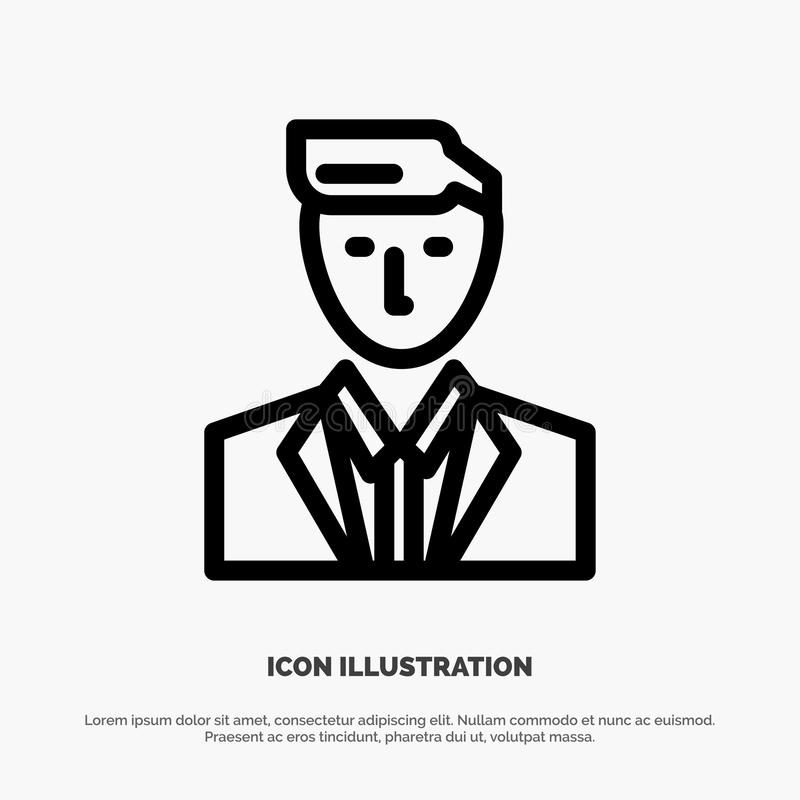 Boss, Ceo, Head, Leader, Mr Line Icon Vector royalty free illustration