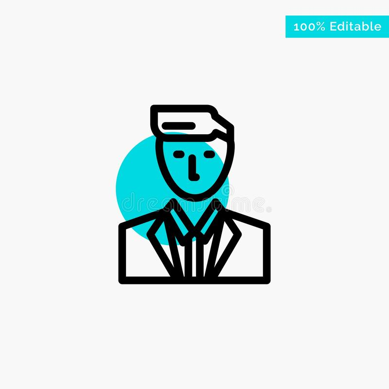 Boss, Ceo, Head, Leader, Mr turquoise highlight circle point Vector icon royalty free illustration
