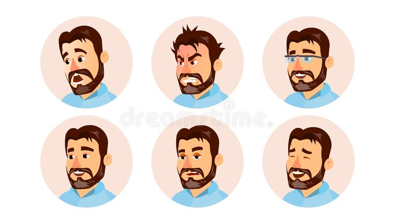 Boss Character Business People Avatar Vector. Modern Office Bearded Boss Man Face, Emotions Set. Creative Avatar royalty free illustration