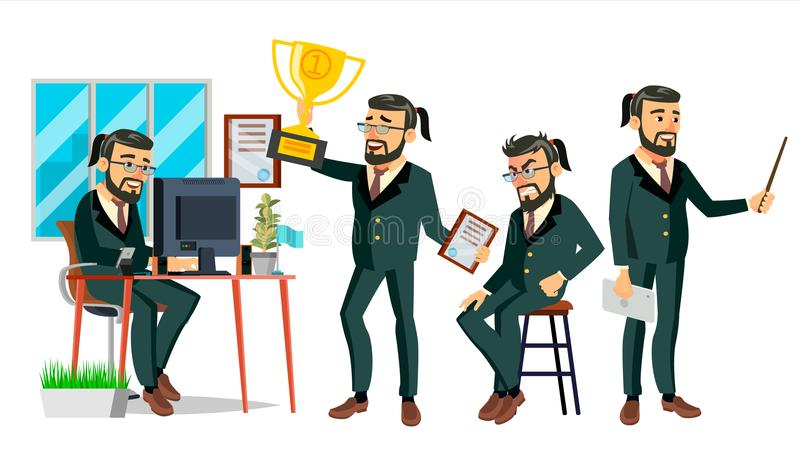 Boss Character Vector barbudo Proceso del ambiente en oficina Diversa acción Ejemplo del negocio de la historieta stock de ilustración
