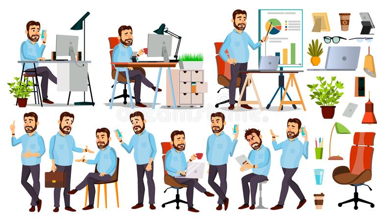 Boss Character Vector. CEO, Managing Director, Representative Director. Poses, Emotions. Boss Meeting. Cartoon Business stock illustration