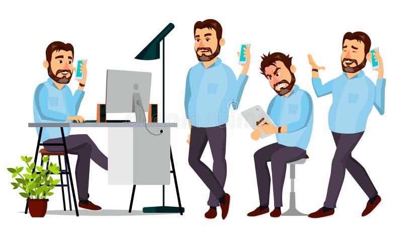 Boss Character Vector. Environment Process. Various Action. Cartoon Business Illustration stock illustration