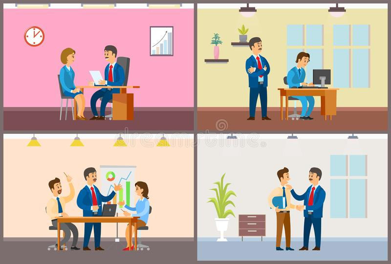 Boss Chief Executive Taking Interview of Woman. Reading cv vector. Conference meeting of team, teamwork working on brainstorming solution data analyze royalty free illustration