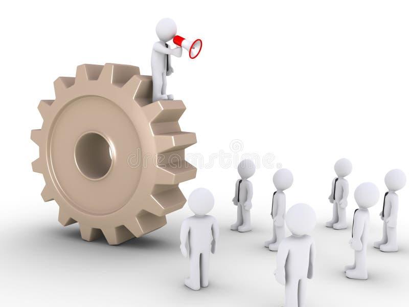Download Boss On Cogwheel Is Calling Employees Stock Illustration - Image: 31967026
