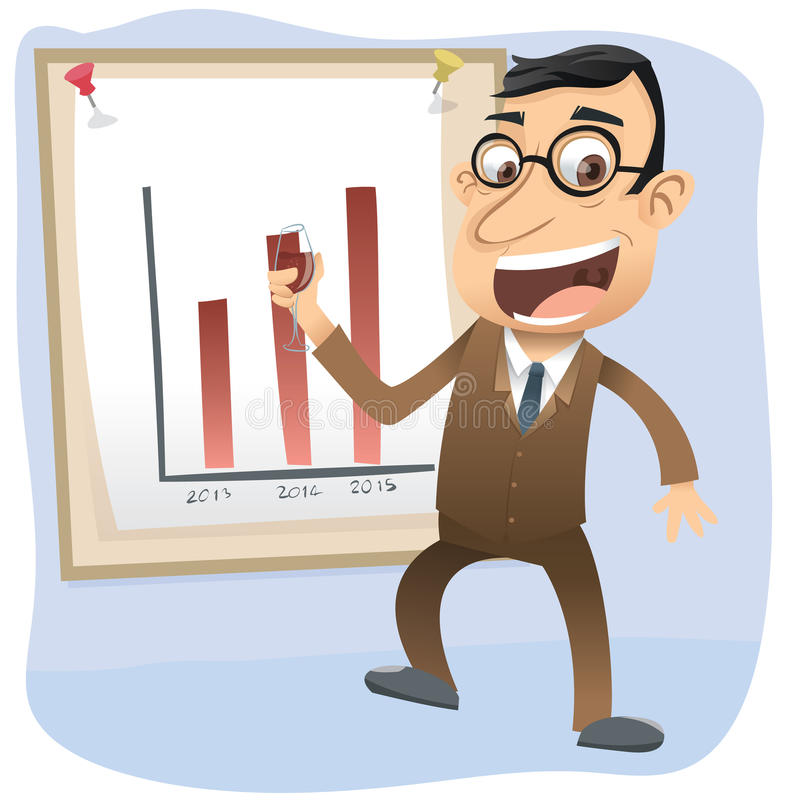 Boss con el vino ilustración del vector