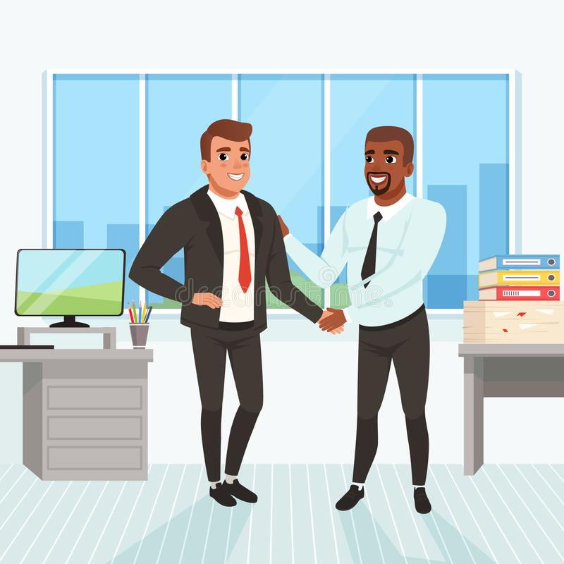 Boss congratulating employee with career promotion. Successful deal. Business people shaking hands in office. Window vector illustration