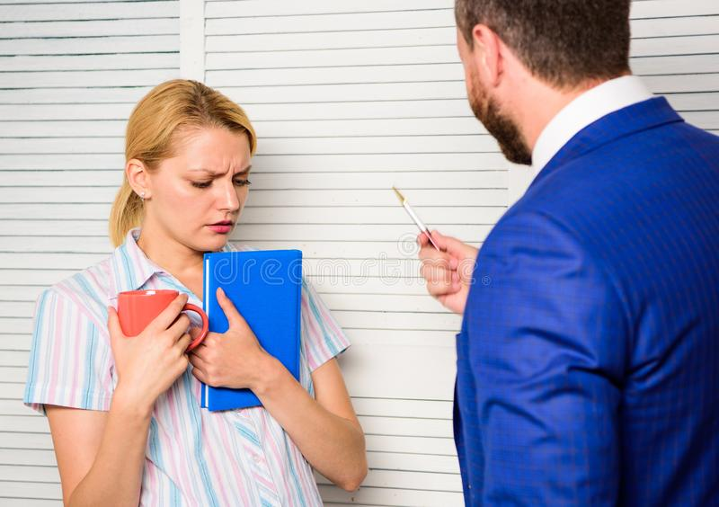 Boss discriminate female worker. Discrimination and personal attitude problem. Discrimination concept. Prejudice and. Personal attitude to employee. Tense stock photo