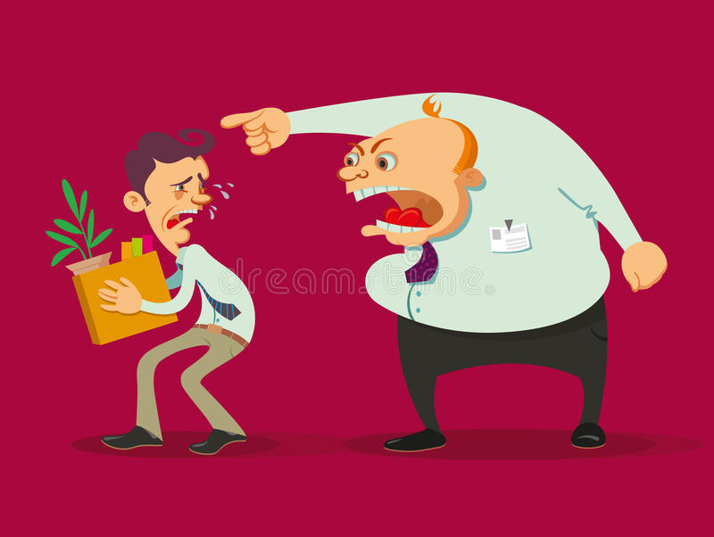 Boss dismisses employee. Dismissed crying employee holding the carton box and angry boss royalty free illustration
