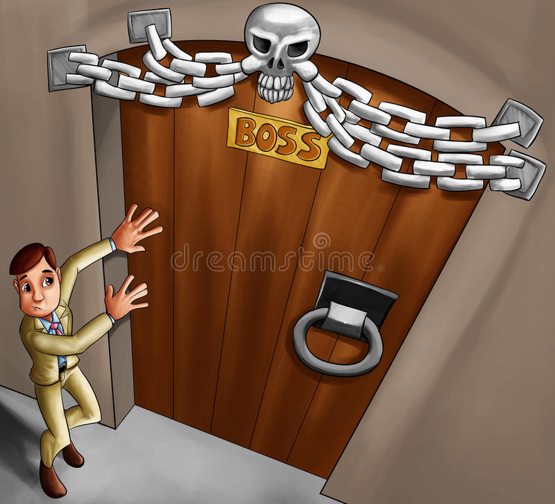 Boss door. Worker in front boss door, he is very scary to get in vector illustration