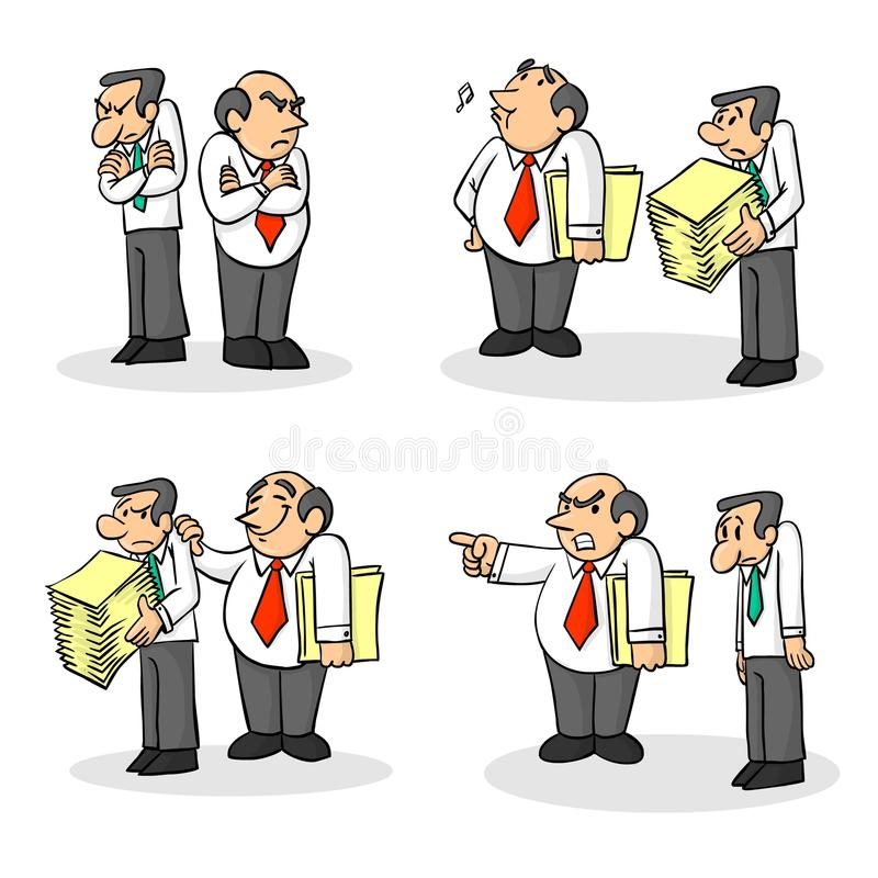 Boss and employee. Four situations of an employer and an employee, mobbing royalty free illustration