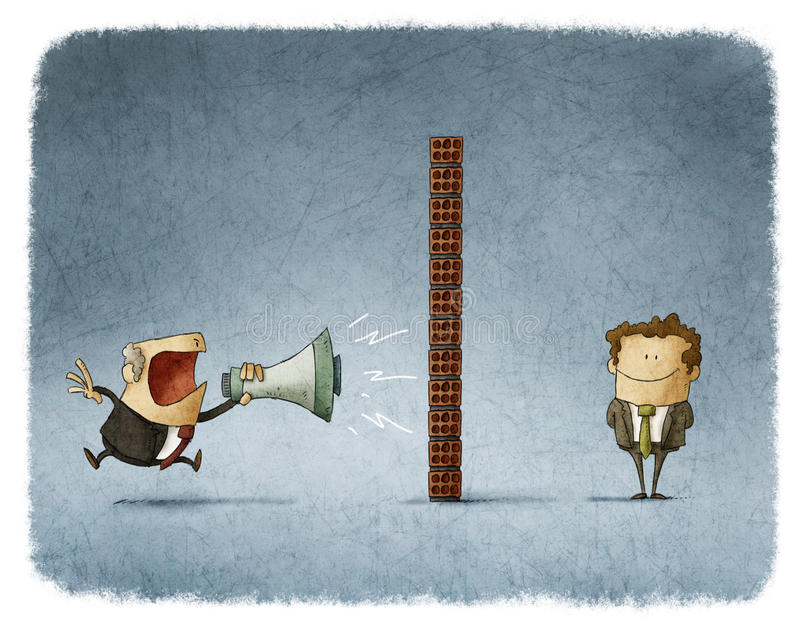 Boss and employee communication. Boss shouting with a megaphone to an employee who is behind a brick wall and does not get any sound vector illustration