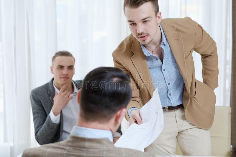Boss employee giving lecture reprimand business royalty free stock image
