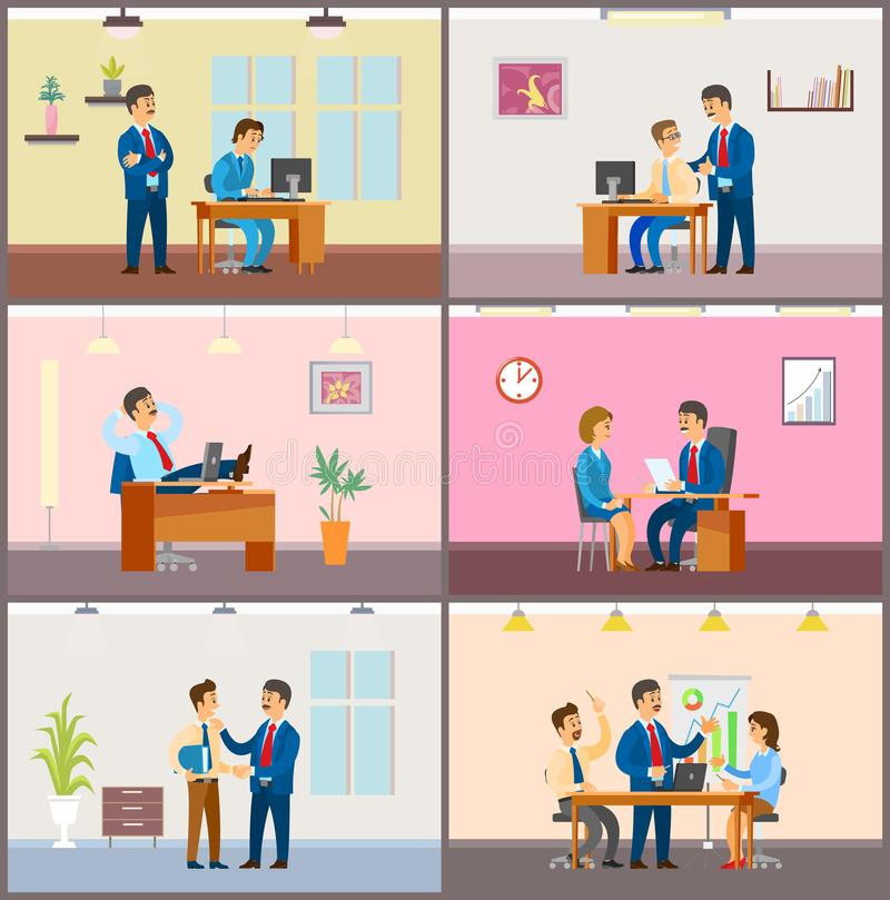 Boss Employer with Woman on Interview, Meeting. Boss employer with woman on interview, team on meeting vector. Teamwork of people brainstorming on solution stock illustration
