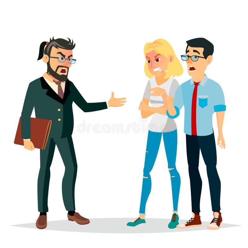 Boss enojado Man Vector Gritos, gritando al empleado Intimidación, sacudiendo Personaje de dibujos animados plano aislado ilustración del vector