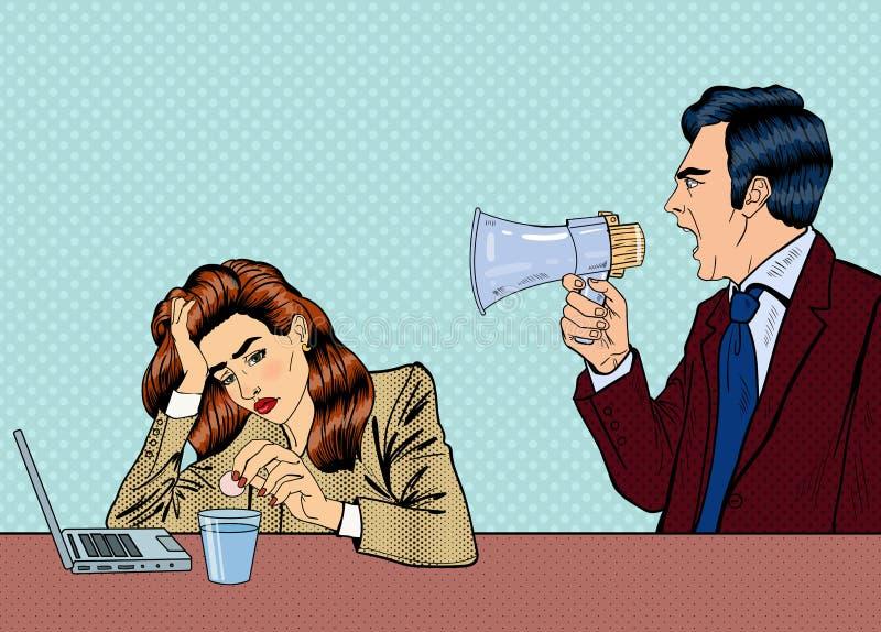 Boss enojado Screaming en megáfono en la mujer en oficina Arte pop libre illustration