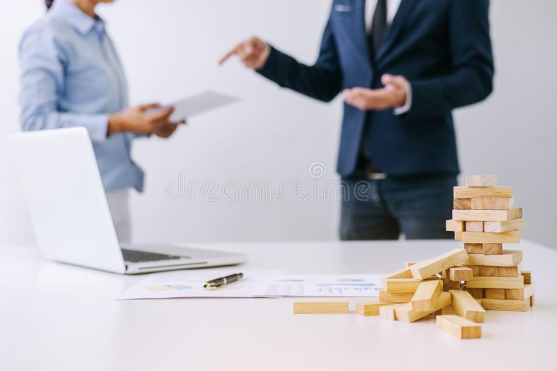 Boss and executive team feeling stress and serious of fail business, Team dispute of failure and exhausted with problems with a p royalty free stock image