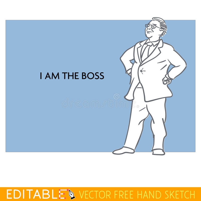 Boss. Fat man. Editable vector icon in linear style royalty free illustration