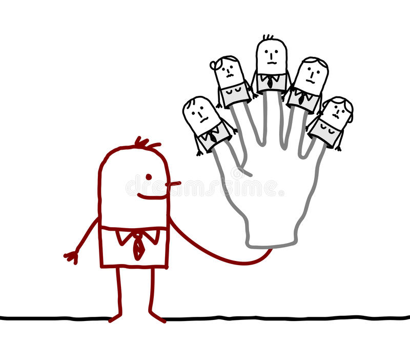 Boss with five puppets employees on fingers. Hand drawn cartoon characters stock illustration
