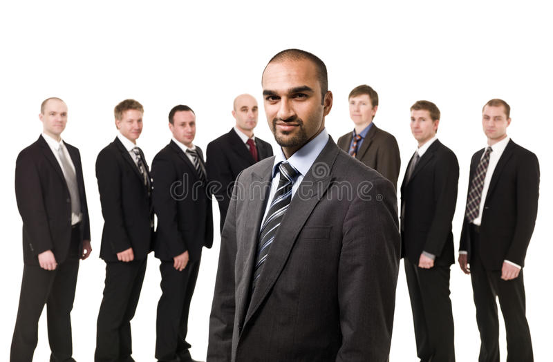 Boss in front of his team stock photos