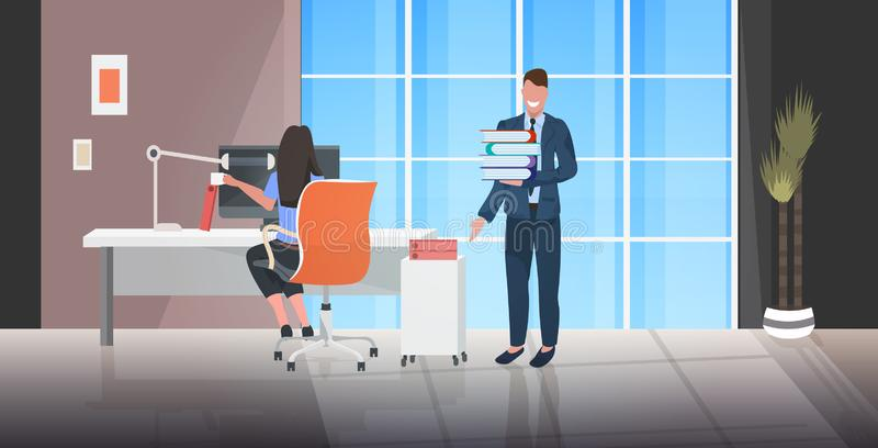 Boss giving documents stack to overworked female worker deadline paperwork concept modern office interior sketch stock illustration