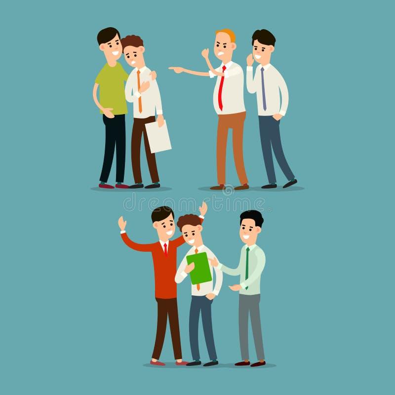 Boss grita y despide al empleado El colega calma al empleado Asunto del trabajo en equipo Sociedad en trabajo de oficina historie ilustración del vector
