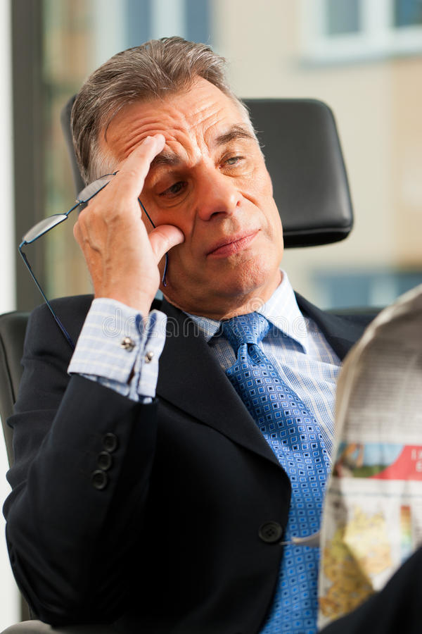 Download Boss In His Office Reading Newspaper Stock Image - Image: 24465219