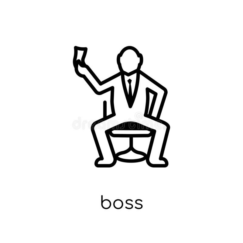 Boss icon. Trendy modern flat linear vector Boss icon on white b stock illustration