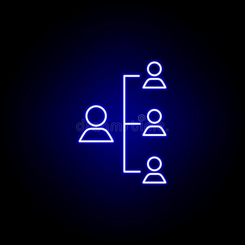 Boss, jerarquía, icono del trabajador Elementos del ejemplo de los recursos humanos en el icono de ne?n del estilo Las muestras y stock de ilustración