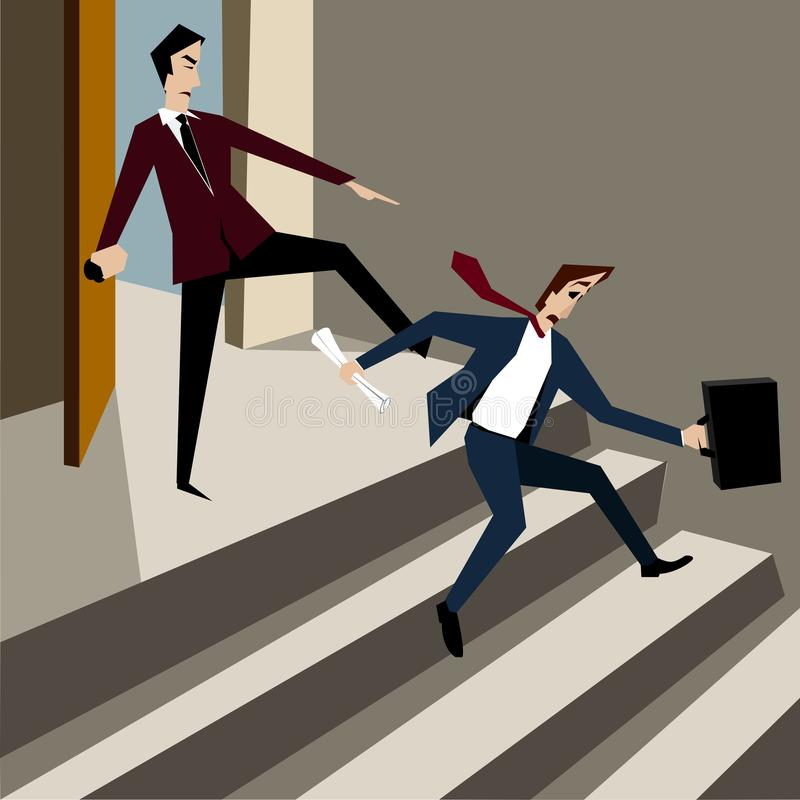 Boss kicked out employee from the office. Vector illustration stock illustration