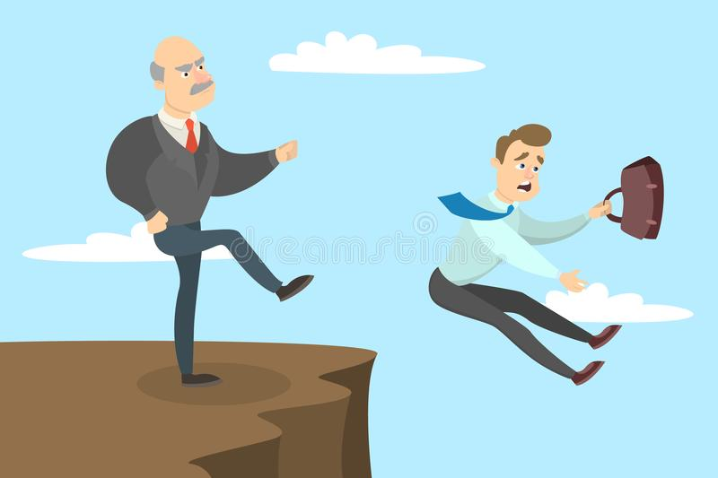 Boss kicks out. Boss kicks out the employee from the cliff royalty free illustration