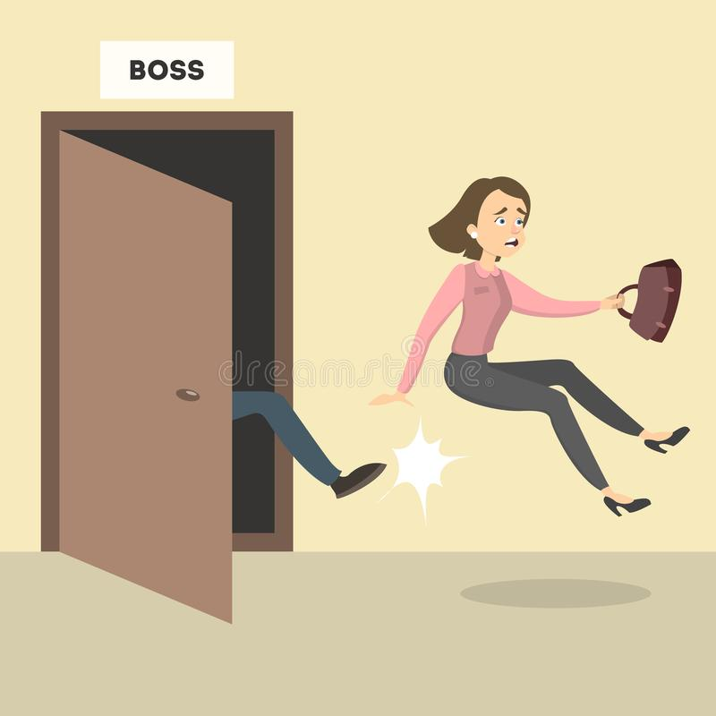 Boss kicks out. Boss kicks out the female employee from the office royalty free illustration